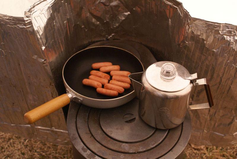 薪ストーブ 朝食