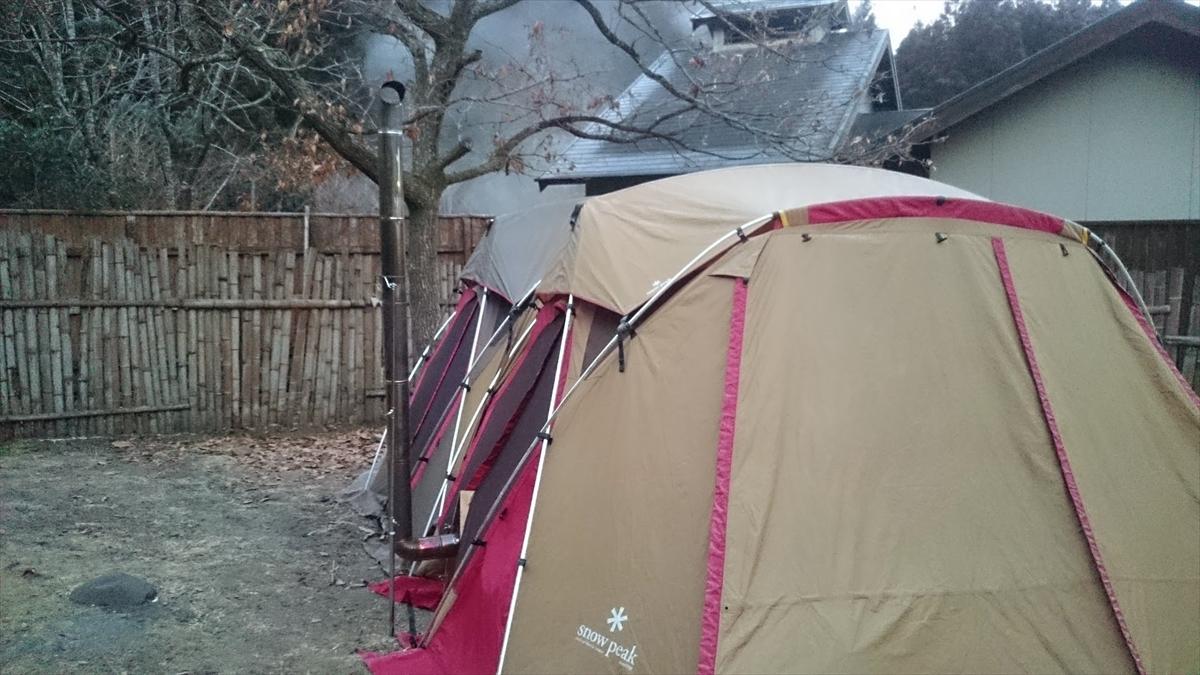 山鳥の森オートキャンプ場 リビングシェル連結 薪ストーブ