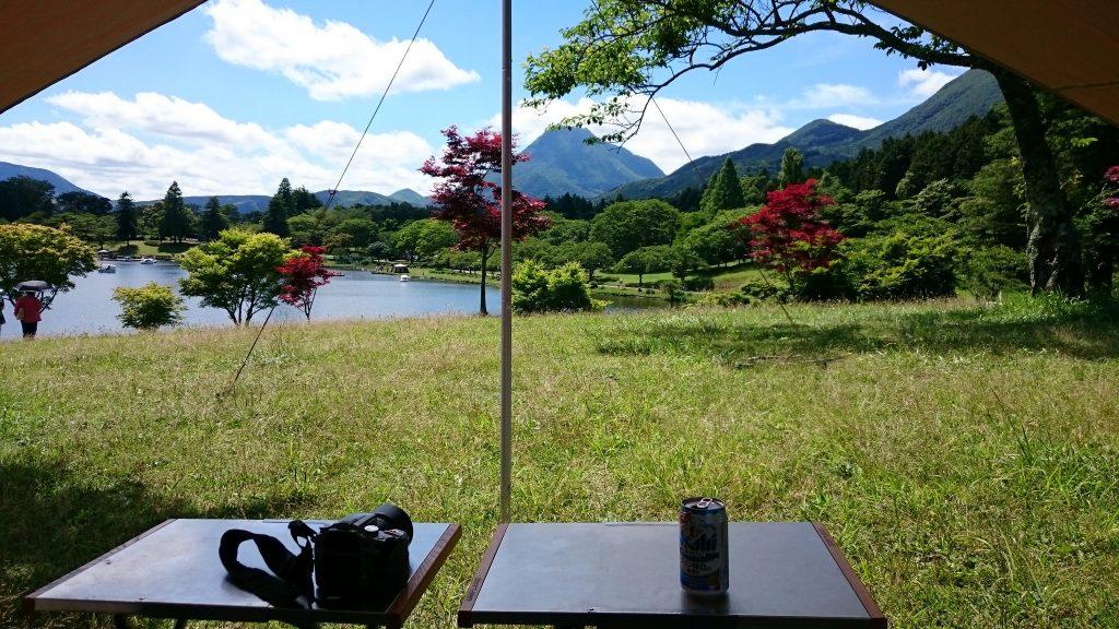 志高湖キャンプ場と由布岳