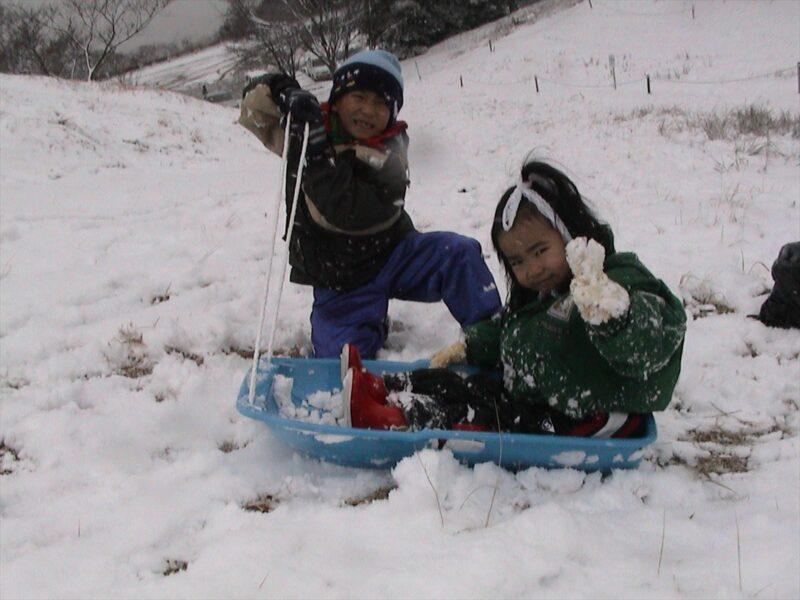 基山で雪遊び ダイキ カナ