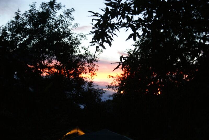 山鳥の森オートキャンプ場 夕焼け