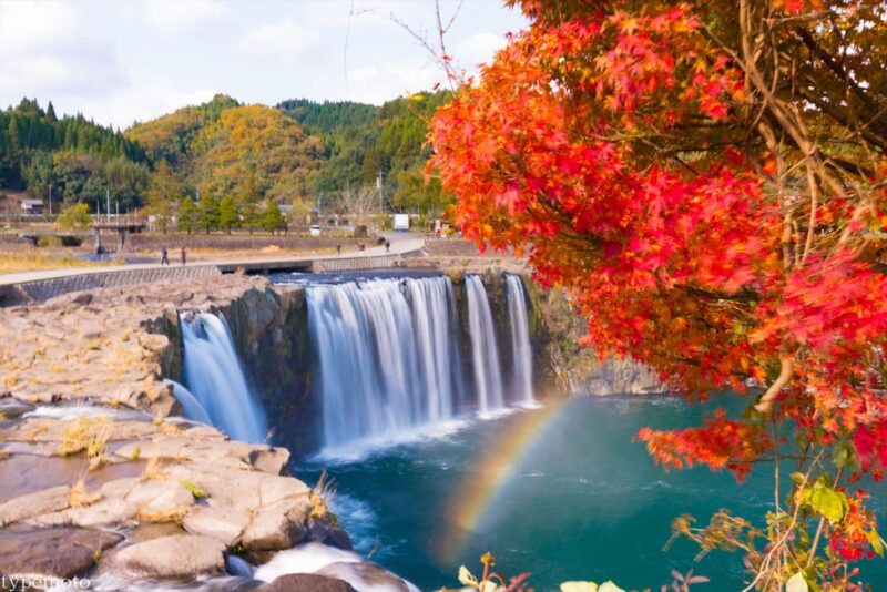 原尻の滝 紅葉 虹