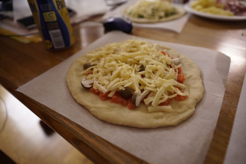 明太子としめじのピザ